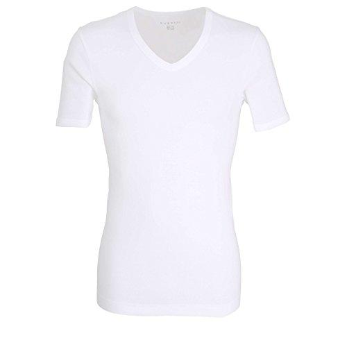 Bugatti Herren T-Shirt, Kurzarm, Baumwolle, Single Jersey, weiß, Uni, 2er Pack 6