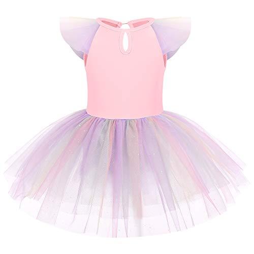 OBEEII Niñas Maillot de Baile Ballet de Danza Tutú sin Mangas Body Leotards Gimnasia Rosa 5-6 Años