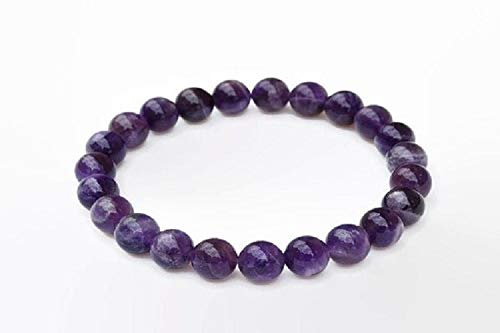 Wholesalegemshop 100% Natural Amethyst 8 mm Purification Bracelet - Natural Stone Yoga Bracelet - With Pouch Crystal Healing Fashion Wicca Jewelry Men Women Gift Health Wealth Handcrafted India