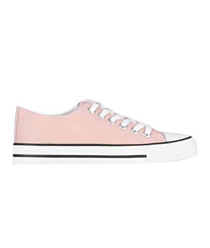 KRISP 2345-PNKWHT-8: Damen Flache Sneaker Turnschuhe Stoffschuhe mit Dicker Sohle (Rosa/Weiß, Gr.41)