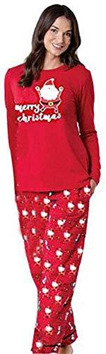 Navidad Familia Pijamas Ropa de Dormir Conjunto de Mujeres mamá Papá Noel Remata Blusa Pantalones Conjunto de Pijama de Manga Larga con Paquete Familiar de Papá Noel para Mujer (Mamá, XL-Mamá)