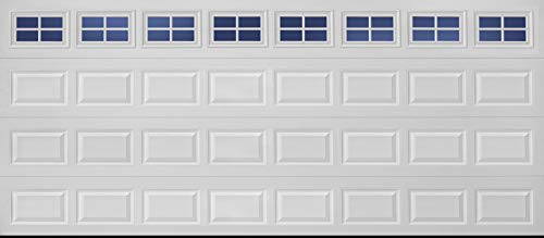 Amarr Lincoln Collection 16 ft. x 7 ft. Non-Insulated Steel White Garage Door with Clear Windows and 4-lite Grille Inserts (LI1000)