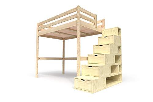 ABC MEUBLES - Hochbett Sylvia mit Treppenregal Holz - Cube - Brutto, 120x200