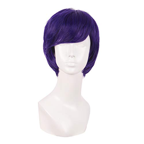 MapofBeauty 10 Inch/25cm Fashion Men Short Curly Hair Cosplay Wig (Dark Purple)