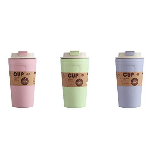 XMYNB Trinkflasche 420Ml Bambuskohle Fiber Environmentally Friendly Weizenstroh Cup Büro-Reise-Kaffeetasse Einfache Große Kapazitäts-Wasser-Flasche,3Pcs