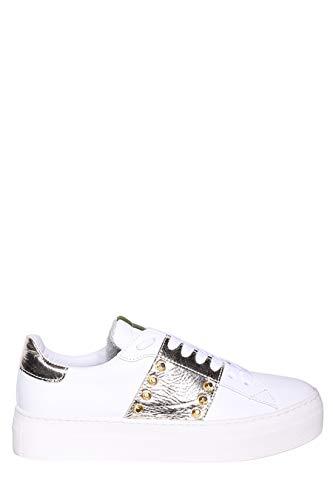 MELINE Sneaker aus Leder mit Metallic-Finish, seitliches Band mit Nieten und Hoher Platform, - 455 - Größe: 39 EU