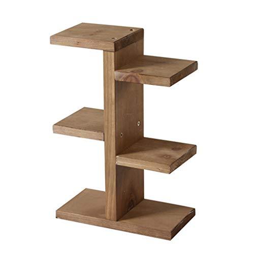 BR Décoration de table de stockage de bois solide de support de fleur de 3 rangées 20 * 10 * 34.5 cm