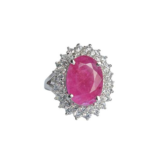 Rosa Rubin Ovalschnitt echte Rubin massiv Sterling Silber Verlobungsring, natürliche Rubin Stein Versprechen Solitaire Ring DV-801