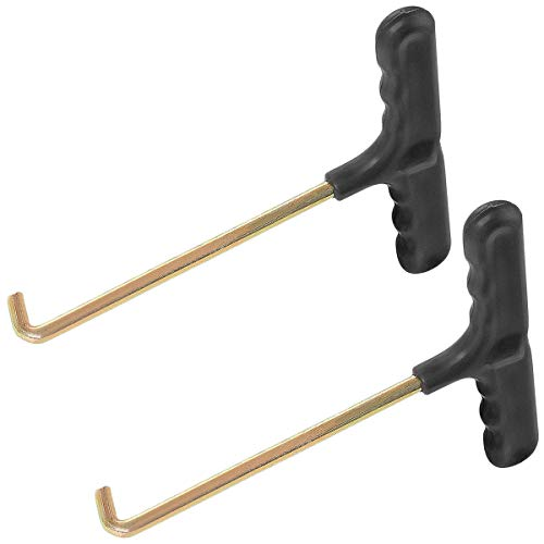 Winice Herramientas de trampolín, 2 piezas de resorte de gancho en T de metal para tienda de campaña para saltar trampolín