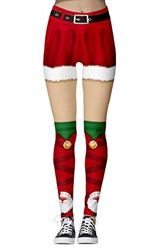 Nuofengkudu Mujer Leggins Estampados Navidad Cintura Alta Colores Elasticos Seamless Mallas Comodo Yoga Fitness Pantalon Casual Cosplay Partido (Patrón N-14,M)
