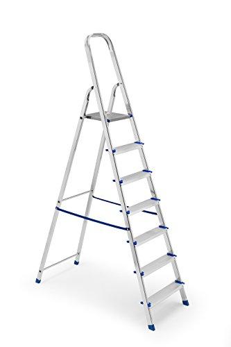 Gimi Framar Europiuma Scala 7 Gradini Domestica, Portata 150 Kg, Altezza Pianetto 149 Cm, Struttura In Alluminio, 50.5 X 124 X 210 Cm