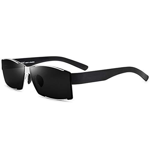 SWNN Gafas de Sol Gafas De Sol Ultraligeras for Hombre TR90 Gafas De Sol Polarizadas Gafas De Sol Cuadradas con Montura Plateada Gris Protección UV400