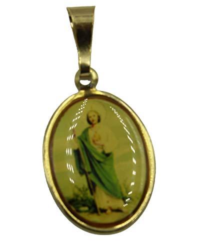 Medalla de San Judas Tadeo de Diamantados de Florida, medalla chapada en oro de 18 quilates con cadena de 50,8 cm
