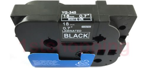 ピータッチ ラミネートテープ 黒ラベル TZ-345 [白文字 18mm×8m]