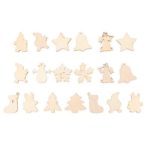 Amosfun Natürliche hölzerne Weihnachtsserien-Scheibe Scrapbooking Verzierungen DIY Craft Decor 50pcs
