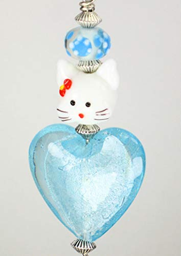 Light Turquoise Blue and White Cat Glass Ceiling Fan Pull Chain / Light Pull
