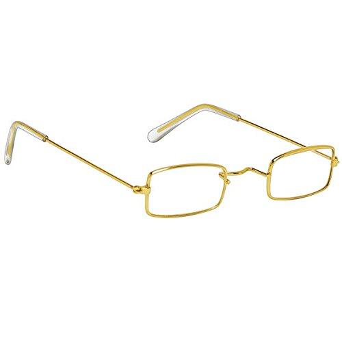 "Amscan 393232 Mr. and Mrs. Santa Square Gold Costume Glasses, 1 1/2"" x 5 1/2"""