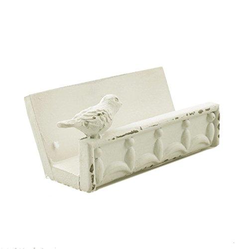 Desk Business Card Holder Stand Bird Design (White)