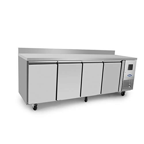 Table Réfrigérée Négative Profondeur 600-4 Portes avec Dosseret - Atosa - R290 4 Portes Pleine