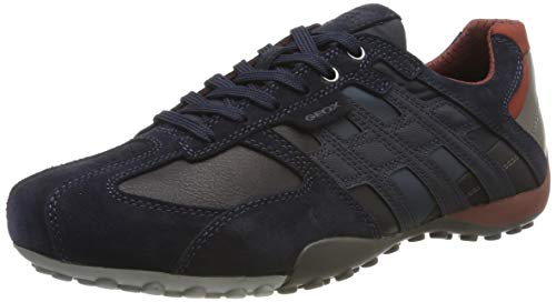 Geox Herren Uomo Snake E Sneaker, Blau (Navy/Cigar Cf46l), 42 EU