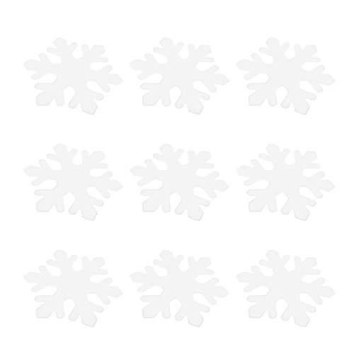 Amosfun Pack of 200 Plastic White Snowflakes Ornaments Glitter Christmas Tree Snowflakes Hangers Winter Wonderland Decor for Tree Craft Embellishment 2nd 3 cm (White)