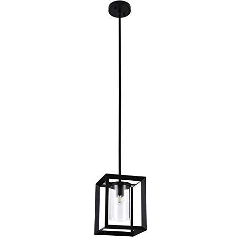 COTULIN Modern Glass Farmhouse Pendant Light,Black Metal Wire Cage Hanging Pendant Light Fixtures,Industrial Pendant Lighting for Kitchen Island Living Room Bedroom