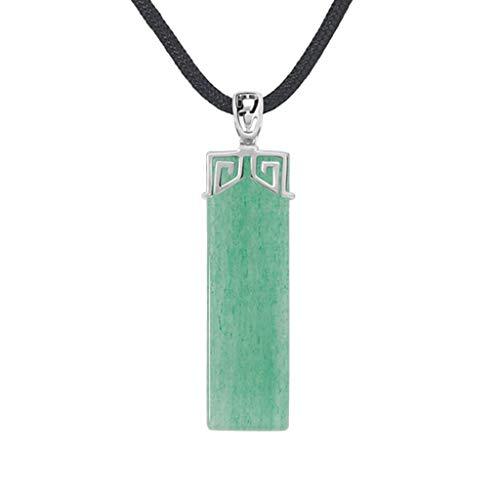 Collares para mujeres y niñas Colgante cuadrado de piedras preciosas de aventurina natural Reiki Chakra Colgante Collar para empoderamiento Coraje Armonía Felicidad Equilibrio Prosperidad Gargant