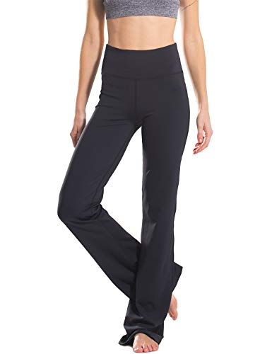 "Safort 28"" 30"" 32"" 34"" Inseam Regular Tall High Waisted Bootcut Yoga Pants, 2 Pockets, Black, M"