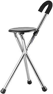 Yxsdd Old Men's Cane Stick Floor Stool Three Foot Aluminum Alloy Anti-Slip Chair Walking Stick Multifunctional