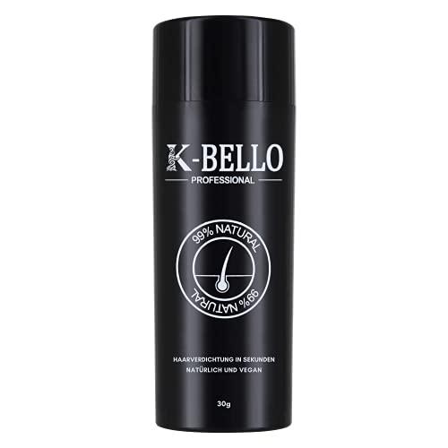 K-Bello Schütthaar Natürlich & Vegan | Streuhaar zur Haarverdichtung & vollem Haar in Sekunden, für Frauen & Männer | Haarpuder - Haarfasern verdecken haarausfall (30 g, Schwarz)