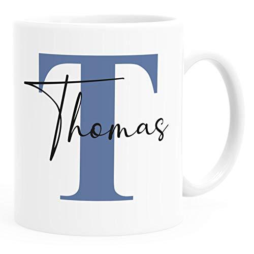 SpecialMe® Namenstasse personalisierte Kaffee-Tasse mit Namen und Buchstabe persönliche Geschenke Buchstabentasse blau weiß Keramik-Tasse