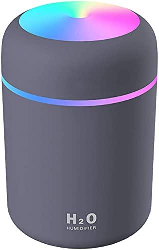 Luftbefeuchter, Mini USB Ultraschall Humidifier mit 300ml Wassertank, Automatische Abschaltung und Super leise, Bunter Cooler Nachtlichtfunktion für Auto, Büroraum, Schlafzimmer (schwarz)
