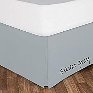 """AAJIVA DECORE 600 Thread Count 100% Egyptian Cotton USA Twin-XL Size 1PC Bed Skirt 12"""" Deep Pokcet Silver Grey Solid"""