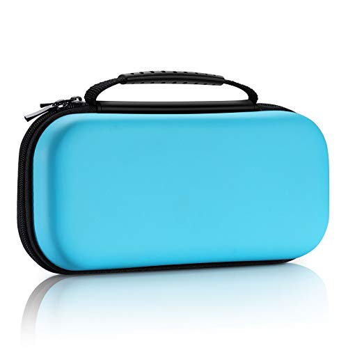 ECASA Travel Carrying Case for Nintendo Switch, Upgraded EVA Hard Shall Game Case,Rubber Handle,Surface Waterproof Game Bag,20 Game Card Storage -Blue