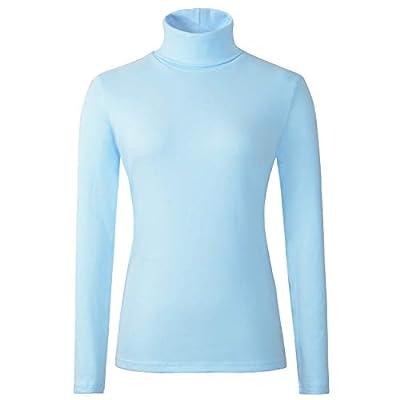 HieasyFit Women's Cotton Turtleneck Top Basic Layering Thermal Underwear(Light Blue S)