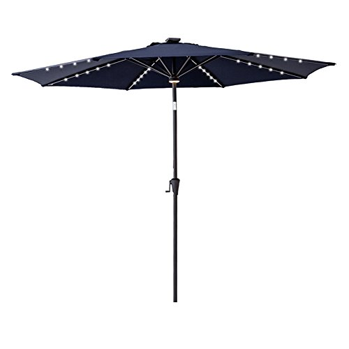 C-Hopetree 11 ft Outdoor Patio Market Umbrella with Solar LED Lights and Tilt - Navy Blue