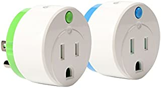NEO Z-Wave Plus Smart Mini Power Plug Zwave Socket Zwave Outlet Home Automation, Work with Wink, SmartThings, Vera, Fibaro & more, Green&Blue 2PK