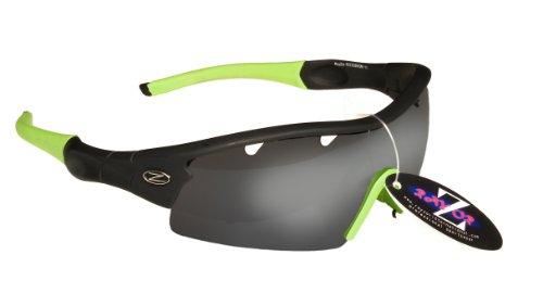 Rayzor Professionnel léger UV400 Noir Sport Wrap Cricket Lunettes de Soleil, avec Un 1 Piece ventilé fumé Miroir Anti-éblouissement Lens.