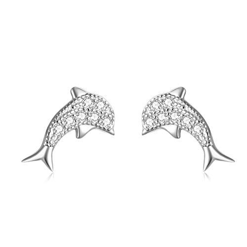 Ohrringe Delfin Ohrstecker aus 925 Sterling Silber und Zirkonia Steinen mit Rhodium oder Rosegold Veredelung