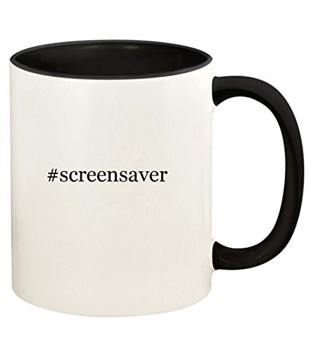 #screensaver - 11oz Hashtag Ceramic Colored Handle and Inside Coffee Mug Cup, Black