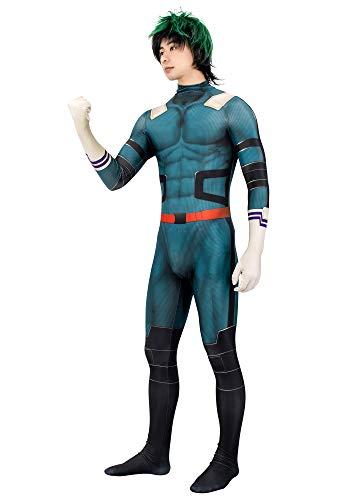 C-ZOFEK Midoriya Izuku Cosplay Costume 3D Printed Green Jumpsuit (Medium)