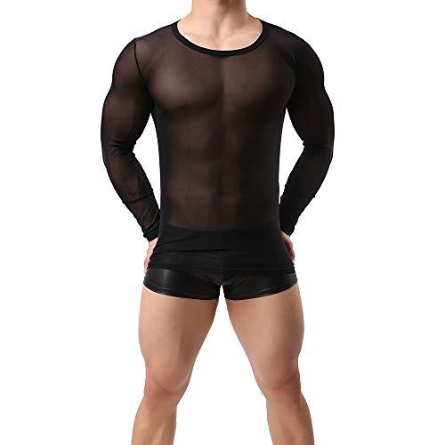 Sking Herren Unterhemd Transparent T-Shirt Langarm Tank Top Shirt Nachtwäsche Männer Reizvoll Unterwäsche (XL, schwarz)