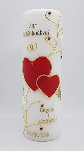 Kerze Rubinhochzeit 40 mit Namen & Datum RH-01