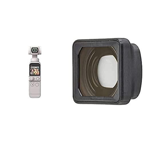 DJI Pocket 2 Combo (Sunset White) - Videocamera Tascabile per Vlogging, Gimbal Motorizzato a 3 Assi, Video 4K, Foto da 64 MP + Pocket 2 Obiettivo Grandangolare - Aumenta di 15 mm la Lunghezza Focale