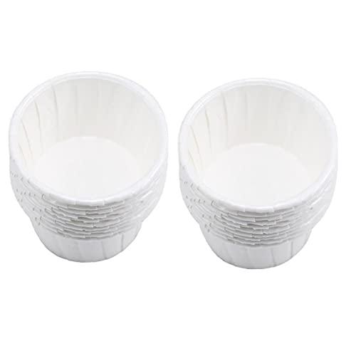 AtheMeet Tazas de Papel Cera para el Pelo Herramientas de Frijol sin Pelo Cera Cara de Mantequilla Taza de Pastel Blanca para la depilación 100pcs