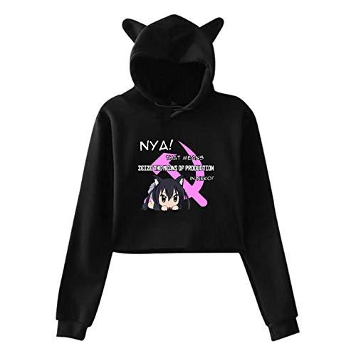 Neko Communism Women'S Crop Top Sweatshirt Hoodie Cat Ear Pullover Hooded
