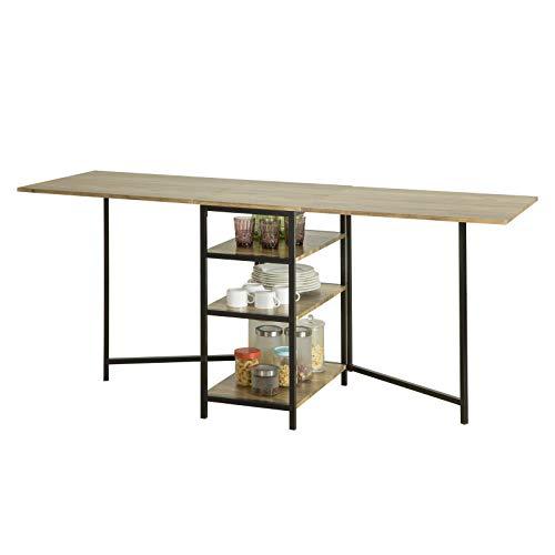 SoBuy FWT62-N klappbarer Esszimmertisch mit 3 Ablagen Klapptisch Küchentisch Holztisch Tisch Industrie-Design BHT ca.: 180x77x60cm