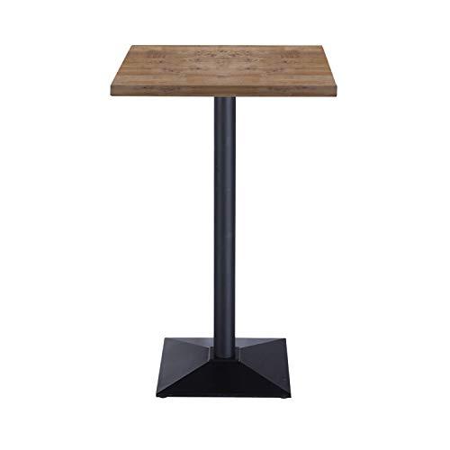 Adec Group Moss, Mesa Alta, Mesa Auxiliar, Mesa de Bar Color Roble Boreal y Negro, Medidas: 60 cm (Largo) x 60 cm (Ancho) x 110 cm (Alto)