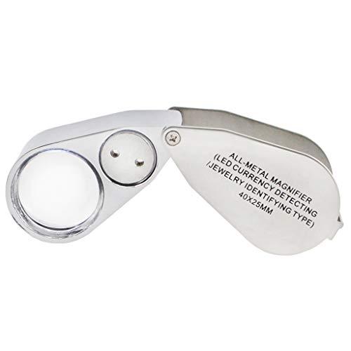 iKKEGOL tragbar Juwelierlupe 40x 25mm alle Metall Lupe Juwelier mit LED UV-Objektiv-für Schmuck, Münzen, Briefmarken (währungsprüfung/Typ)