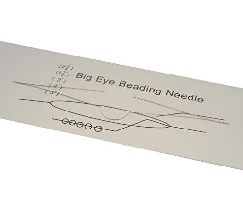 Agujas de acero inoxidable Big Eye para perlas, 10 cm, agujas de coser para cuentas y abalorios, 0,3 mm de grosor Y10